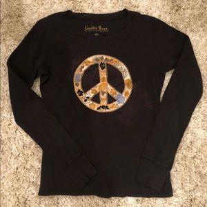 Long sleeve Lucky Tee peace sign shirt.